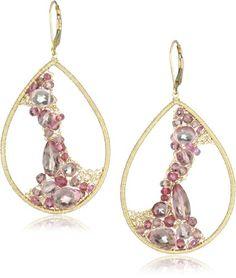 "Dana Kellin Pink Sapphire Mix Large Open Encrusted ""Pink Sapphire Mix"" Teardrop Earrings DANA KELLIN,http://www.amazon.com/dp/B007EK2E3A/ref=cm_sw_r_pi_dp_0R7msb0MYV844T6G"