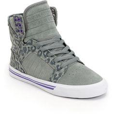 Supra Womens Skytop Grey Cheetah Print High Top Shoe ($95) ❤ liked on Polyvore