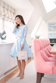Extra Petite: BLUE LACE SKIRT SET AT THE OCEAN HOUSE, RHODE ISLAND