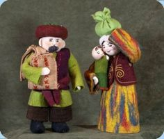Felt Nativity Scene from Kyrgyzstan. I love creche figurines that are dressed in native dress from different countries.