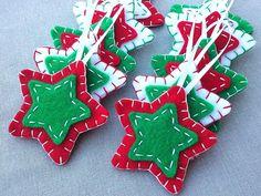 10 rojo y verde estrella adornos adornos de árbol de Navidad