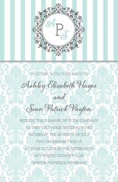 Monogram Tiffany Blue damask wedding invitation grey. $2.50, via Etsy.