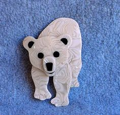 Lea Stein Polar Bear Pin Tom Brooch Paris by Kissisjustakiss