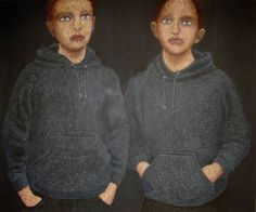 "Saatchi Art Artist Cécile Duchêne Malissin; Painting, ""Grey twins"" #art"