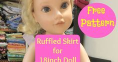 Here is a quick ruffled skirt to make for an 18 inch doll.  It only has 2 simple pattern pieces. Layer fabric to cut out pieces so ...