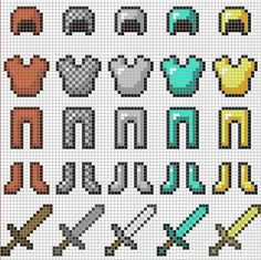 Minecraft Armor & Swords​ perler bead pattern