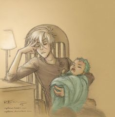 Draco is babysitting Teddy again ^-^  …probably Draco's thoughts in this moment… hopefully this is not the lullaby he sings to him! XD
