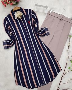 Home - eTrend Shopping : Striped Tunic-Pink Islamic Fashion, Muslim Fashion, Hijab Fashion, Fashion Outfits, Stylish Dresses For Girls, Casual Dresses, Casual Outfits, Sleeves Designs For Dresses, Dress Designs