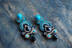 Soutache dangle earrings, Black, beige and turquoise earrings, Embroidered earrings, Beaded earrings, Soutache jewelry, FREE SHIPPING