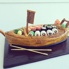 Grooms cake sushi boat by Whippt desserts Sushi Boat, Sushi Cake, Craft Wedding, Canapes, Food Service, Grooms, Macarons, Catering, Sculpting
