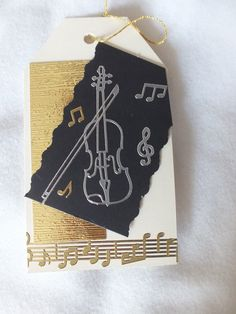 Black cream and gold musical themed gift tag by RoseyBonesMakes