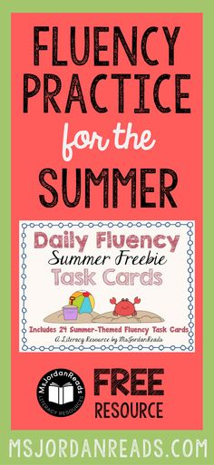 """Fluency Task Cards for the Summer that you can download for FREE! 