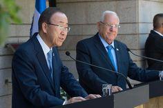 El Secretario General, Ban Ki-moon, participa en una conferencia de prensa en Jerusalén Junto al Presidente de Israel, Reuvén Rivlin. Junio 27 de 2016. Foto ONU/Eskinder Debebe