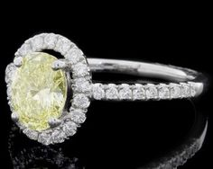 Yellow Diamond Halo Engagement Ring HD016