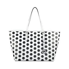 MICHAEL Michael Kors Jet Set Dot Leather Medium Travel Tote ($240) ❤ liked on Polyvore featuring bags, handbags, tote bags, white black, genuine leather handbags, leather tote, genuine leather tote, travel tote bags and leather purse