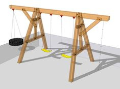 Your kids will be the envy of the neighborhood when you build them this heavy wooden swing se. Your kids will be the envy of the neighborhood when you build them this heavy wooden swing set - 26 New Diy Wooden Swing Set Plans Free Inspiration<br> Backyard Swing Sets, Diy Swing, Backyard For Kids, Swing Sets Diy, A Frame Swing Set, Big Kid Swing Set, Kids Swing Set Ideas, Swings For Kids, Small Swing Sets