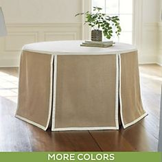 Paneled Party Tablecloth Burlap   Round BallardDesigns_com   Or Do  Something Quick With What You Have Using Scissors And White Duct Tape.