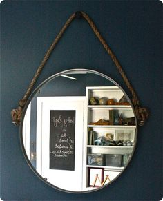 diy rope mirror -- for spare bedroom wall -- as soon as walk in