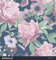 Seamless Floral Pattern With Pansy, Convolvulus And Peonies, Watercolor. Vector…
