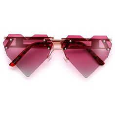Rimless Adorable Heart Sunnies with a Steampunk Twist ($5) ❤ liked on Polyvore featuring accessories, eyewear, sunglasses, glasses, cat eye glasses, cat eye sunglasses, cateye sunglasses, aviator sunglasses and wayfarer style sunglasses