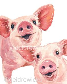 New Ideas For Animal Art Painting Watercolour Watercolor Animals, Watercolor Paintings, Painting Art, Animal Paintings, Animal Drawings, Happy Pig, Pig Illustration, Pig Art, Cute Pigs