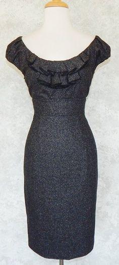 REBECCA TAYLOR Charcoal Gray Tweed Desk to Date Ruffle Sheath Dress NEW  Size 10 #RebeccaTaylor #EmpireWaist #WeartoWork
