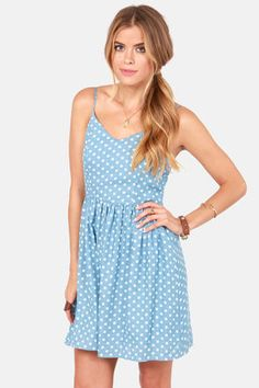 Check it out from Lulus.com! Beyond adorable, the Dot So Hot Blue Polka Dot Dress does the current polka dot craze justice! This simple woven skater dress features a fitted bodice and full skirt in blue chambray with small off-white polka dots allover. Elastic at back plus adjustable spaghetti straps for fit. Hidden back zipper. Fully lined. Model is wearing a size small. 100��0Cotton. Polyester lining. Hand Wash Cold or Dry Clean. Made with Love in the U.S.A.