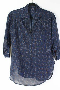 Polka Dot Chiffon Shirt in Navy