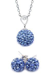 Authentic .925 Sterling Silver Sapphire Color Crystals Ball Pendant 18 Inches Rolo Chain and 8mm.stud Earrrings 3 Cts Tw.now At Our Lowest Price Ever but Only for a Limited Time! Affordable Silver jewelry. $9.99. .925 Sterling Silver 18 Inches Rolo Chain. Authentic  Sapphire Color  Crystals. .925 Sterling Silver Stamped. Include  a Free Special Pouch. Pendant and Earrings Set. Save 66% Off!