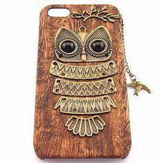 """Notice: the material is plastic not wood! Material:plastic/Alloy Model:iphone 5/4/4s Color:A/B New Element:owl Fashion:Retro It is a Lovley and retro iphone case. It hung on a Lovley swallow. The alloy owl stuck to the iphone case by hand.""""Wooden"""" design made your iphone more New and cool."""