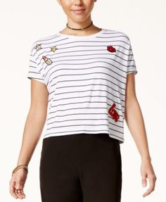 SHIFT Juniors' Striped Patch T-Shirt, Only at Macy's | macys.com