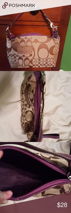 Coach small handbag - Signature Collection Small Coach handbag. Brown with purple handle and zipper. Silver hardware. Great condition. Coach Bags Mini Bags