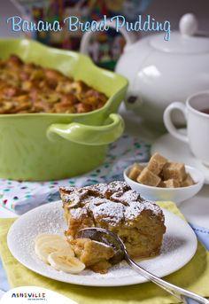 Banana Bread Pudding made with Croissants | ExploreAsheville.com #breadpudding #recipe #holidays