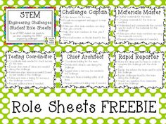 Growing a STEM Classroom: STEM Engineering Student Role Sheets, #teaching #fourth #STEM