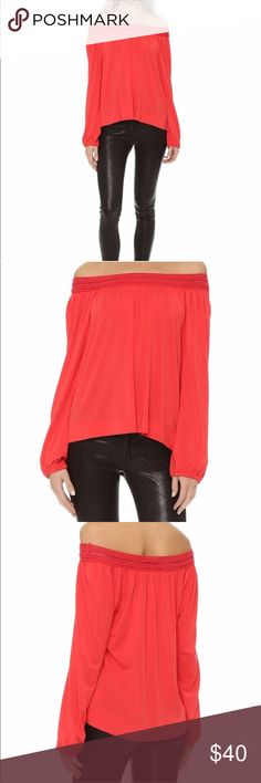 Ella Moss Off Shoulder Blouse Ella Moss red off- the- shoulder blouse. Cut-out details along sides, woven neckline. NWT. Dry clean only. re-poshing because it is a little big on me. Ella Moss Tops Blouses