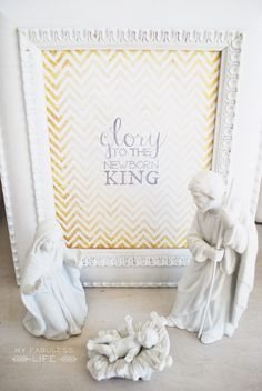 Idea: spray paint nativity set white or gold...Rub n Buff. Love the frame and gold chevron too