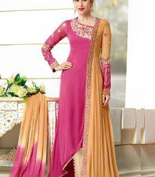 Buy pink and  orange georgette embroidered semi_stitched salwar with dupatta wedding-salwar-kameez online