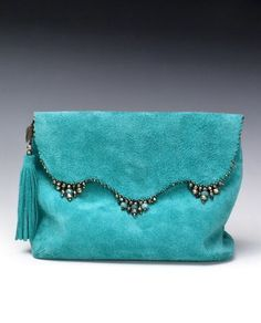Anat Gelbard- Handmade suede reversible clutch with gems Handmade Handbags, Handbags On Sale, Handmade Bags, Purses And Handbags, Handmade Clutch, Potli Bags, Cheap Purses, Beaded Bags, Fabric Bags