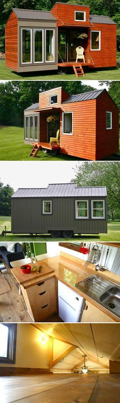 "This 21' rustic modern tiny house was built by two brothers that are both 6'7"" tall, so the lowest points on the main floor are the 6'8"" doorways."