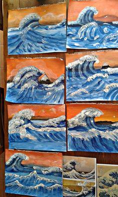 the great wave off kanagawa hokusai Classroom Art Projects, Art Classroom, Primary School Art, 8th Grade Art, Jr Art, Art Lessons Elementary, Art Lesson Plans, Art Club, Art Plastique