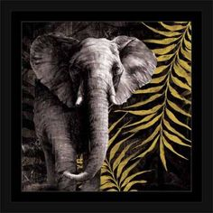 Tribal Elephant Safari Jungle Leaves Texture Painting Black & Yellow, Framed Canvas Art by Pied Piper Creative