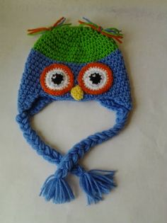 owl hat blue green orange white baby shower by AFieldOfSunflowers, $22 ...