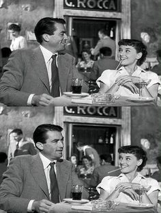 Audrey Hepburn an Gregory Peck in Roman Holiday, Rome, 1953