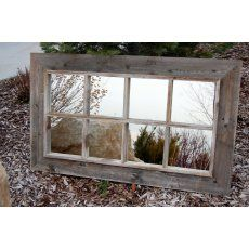 8 Pane Window Pane Mirror - Reclaimed Barnwood