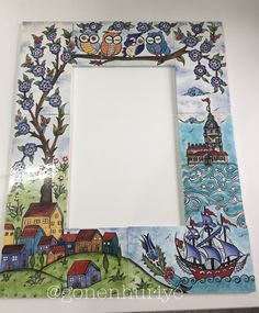 Çini ayna Diy Projects For Teens, Diy For Teens, Crafts For Teens, Fun Crafts, Ceramic Painting, Ceramic Art, Mirror Tiles, Border Design, Craft Work