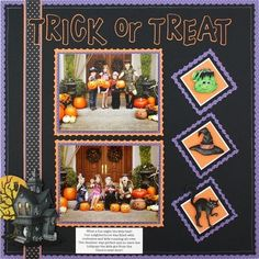 Cheerful Power Palette Project Ideas: Classic Halloween Stickers Scrapbooking Layout Idea Need to use up Mrs. Grossman stickers and old tiny print paper? This is an adorable Halloween design that does both. Halloween Scrapbook, Disney Scrapbook, Baby Scrapbook, Scrapbook Stickers, Scrapbook Paper Crafts, Scrapbook Cards, Scrapbook Borders, Paper Crafting, Scrapbook Sketches