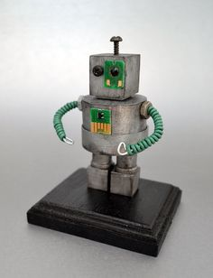 Robot Art Desk Sculpture Geek Gift for Him Science by DeviceZero, $30.00