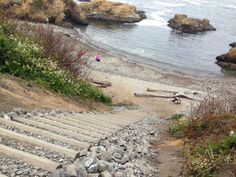 Glass Beach Stairs-There are now stairs going down to Glass Beach in Fort Bragg, CA
