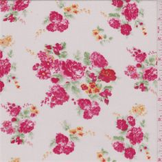 Ivory/Bright Red Floral Challis - 31003 - Fabric By The Yard At Discount Prices
