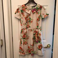 Floral Classic Retro Short Sleeve Dress Medium